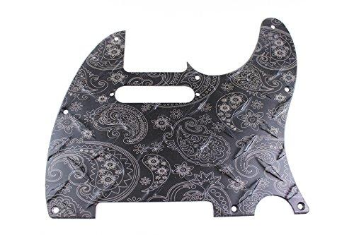 (Matte Black Anodized Engraved Paisley Diamond Plate Aluminum Pickguard Fits Fender Tele Telecaster)