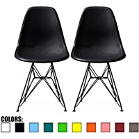 2xhome - Set of Two (2) - Black - Eames Style Side Chair Black Eiffel Base Dining Room Chair - Lounge Chair No Arm Arms Armless Less Chairs Seats Black Wire Legs