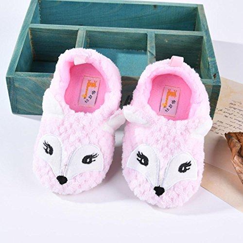 Sunnyoyo 0-1 Jahre alt Baby Boy Soft Cartoon Design Kleinkind Erwärmung Krippe Schuhe Haushalt Schuhe Rosa