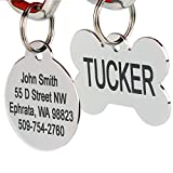 Stainless Steel Pet Id Tags: Bone, Round, Heart, Flower, Badge, House, Star, Rectangle, and Bow Tie. Includes up to 8 Lines of Customized Text - Front and Back Engraving.