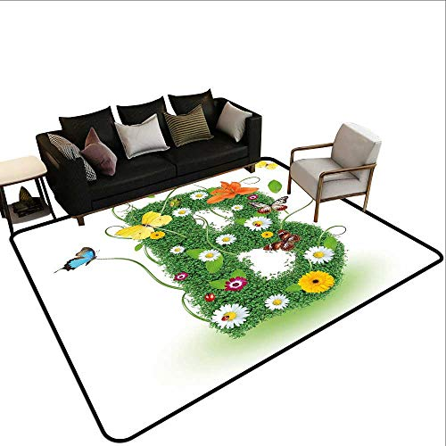 (Decorative Floor mat,Uppercase B Sign with Flourishing Daisies Exotic Garden Plants Butterflies Fresh 6'6