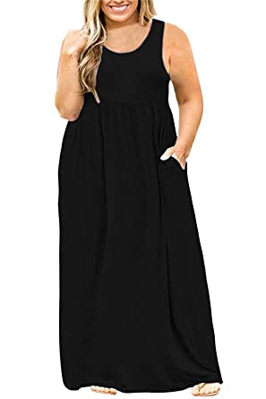 Yskkt Womens Plus Size Sleeveless Maxi Dresses Tank T Shirt Casual ...