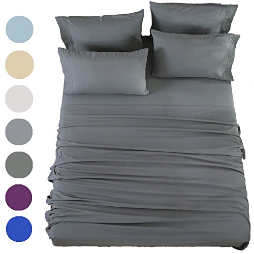 (SONORO KATE Bed Sheets Set Sheets Microfiber Super Soft 1800 Thread Count Egyptian Sheets 16-Inch Deep Pocket Wrinkle Fade and Hypoallergenic - 6 Piece (King, Dark Grey))