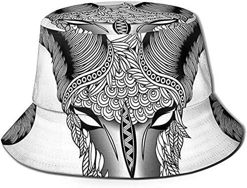 William Bacon Fisherman Cap, Head of Aries Künstlerische Illustration mit ethnischen Stammesmotiven, Travel Beach Hat