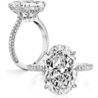Erllo 925 Sterling Silver Women Wedding Rings 5 Carat Oval Cut Cubic Zirconia Engagement Ring