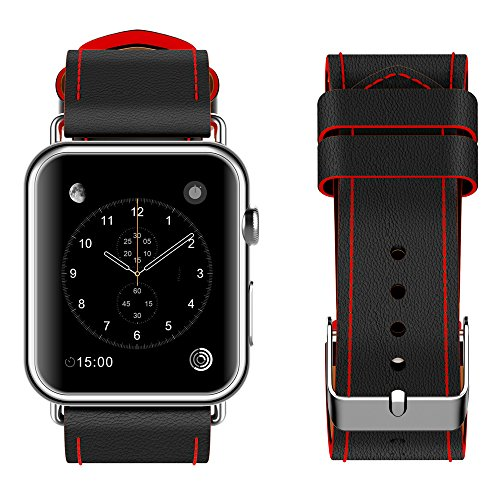 top4cus Genuine Leather iwatch Strap Replacement Band Stainless Metal Clasp, Compatible for 38mm 42mm Apple Watch Series3 S2 S1 and Sport Edition (42mm/44mm, Sporty Black)