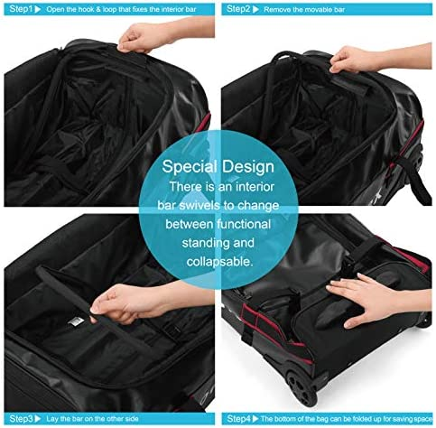 Gonex Rolling Duffle Bag with Wheels, 70L Water Repellent Wheeled Travel Duffel Luggage with Rollers 26 inch, Black