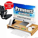 Prevent Your Spine from Scoliosis with Bamboo Monitor Stand Riser Organizes Holder Home Office Desk Laptop Multifunctional Organizer Storage Rack For Correct Sitting Posture + Back Support + E-Book