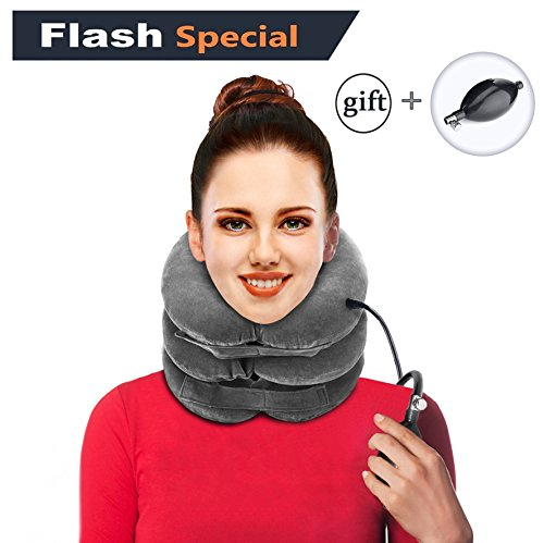 Cervical Neck Traction Device by B@V • Inflatable & Adjustable Neck Stretcher Collar for Home Traction Pillow Spine Alignment • Gray • PUMP BONUS (Traction Neck Pillow)