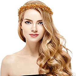 Luxury Bridal Wedding Prom Rhinestone Crystal Flower Crown (Gold)