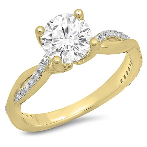 14K Gold Round Moissanite & White Diamond Ladies Solitaire With Accents Bridal Engagement Ring