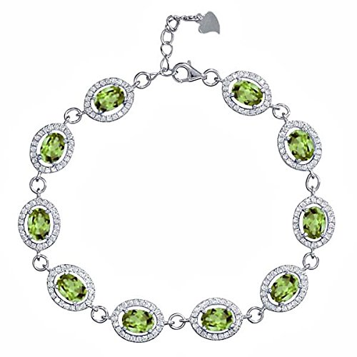 10.88 Ct Oval Green Peridot 925 Sterling Silver Bracelet