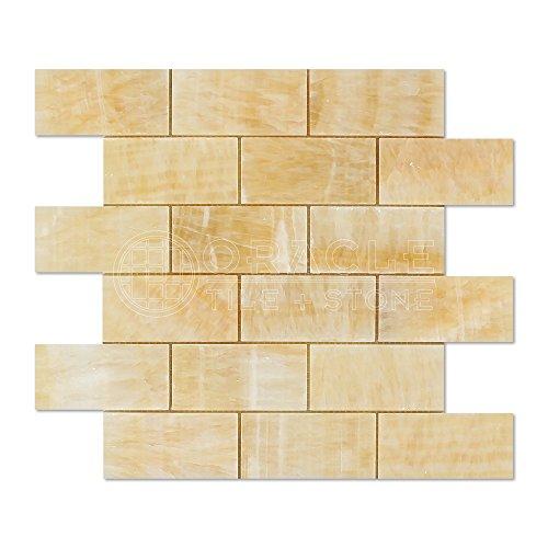 Honey Onyx 2 X 4 Brick Mosaic Tile, -