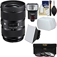 Sigma 24-35mm f/2 ART DG HSM Zoom Lens with Flash + Soft Box + Diffuser + 3 Filters + Kit for Nikon Digital SLR Cameras
