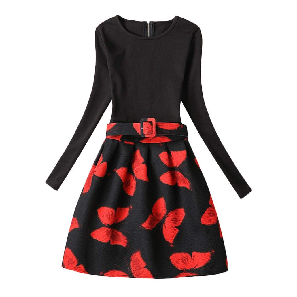 Suma-ma (6-12T) Children Kids 1PC Long Sleeves Butterfly Print Princess Black Dress Sundress Clothes,Show Dance and Party