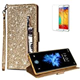 For Samsung Galaxy S9 Case Glitter Zipper Wallet Case [Free Screen Protector],Funyye Luxury Magnetic Flip Pocket Purse Card Holder Case Tidal Current Cover for Samsung Galaxy S9,Gold