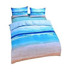 Sleepwish Ocean Bedding Beach Duvet Cover Hot 3D Print Sea Inspired Bedding with 2 Pillow Shams - King