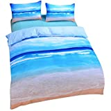 Sleepwish Ocean Bedding Beach Duvet Cover Hot 3D Print Sea Inspired Bedding with 2 Pillow Shams - Full