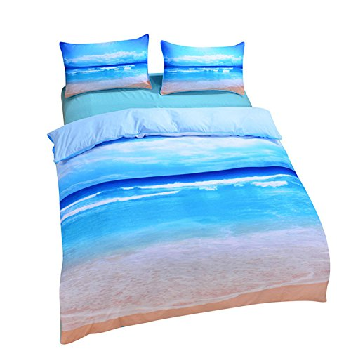 Sea Salt 3 Piece (Sleepwish Ocean Bedding Beach Duvet Cover Hot 3D Print Sea Inspired Bedding with 2 Pillow Shams - Queen)