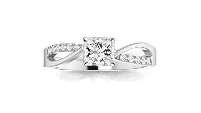 02e46f76b0a3e0 0.33 Carat Princess Cut Elegant Twisting Split Shank Diamond Engagement Ring  (J-K Color, I2