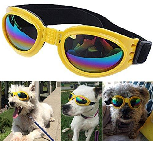QUMY Dog Goggles Eye Wear Protection Waterproof Pet Sunglasses for Dogs About Over 15 lbs (Yellow)