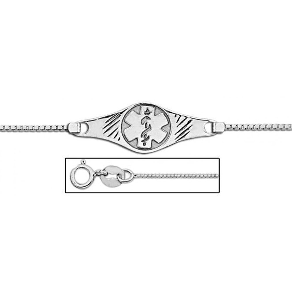 PicturesOnGold.com 14K White Gold Medical ID Anklet - 10 Inch WITH ENGRAVING