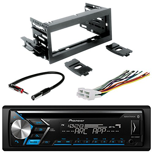 Pioneer DEH-X3900BT Single DIN Bluetooth In-Dash CD/AM/FM Car Stereo Receiver, with Scosche GM02B Mini Speaker Connector, Scosche MDA1B GM Micro/Delco Antenna Adapter and Scosche GM1483B Truck Kit