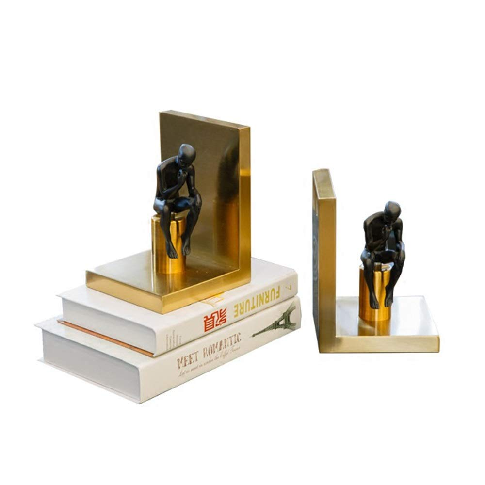 MAGO Desktop Decoration Antique Effect Resin Thinker Bookends for Office Or Home Study Decorative, 1 Pair