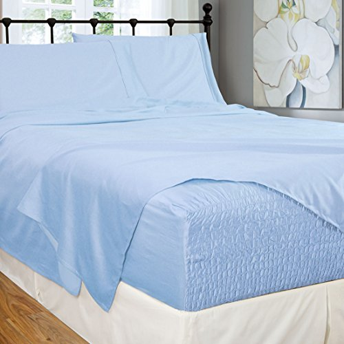 Bed Tite Stretch Fit 300-Thread Count 100-Percent Cotton Ultra Luxurious Deep Pocket Sheet Set (Queen, Lt Blue)