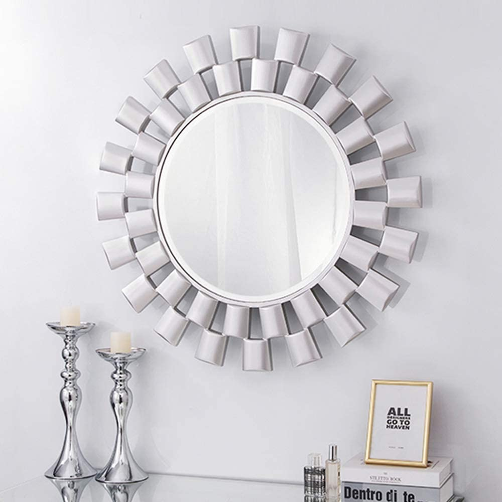 Chende Large Mirror Wall Decor with Wooden Frame, 32'' Round Decorative Mirror for Wall, Modern Silver Accent Mirror with Beveled Edge for Living Room, Foyer, Bedroom