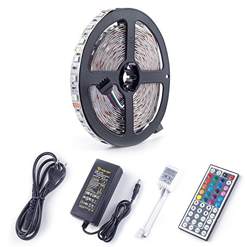CARYLED 16.4ft 5M Waterproof Rope Lights 300 LED 5050 SMD Color Changing RGB Flexible LED Strip Light + 12V 6A Power Supply + Remote + IR Controller Muliticolored - Electrical Floating Canopy