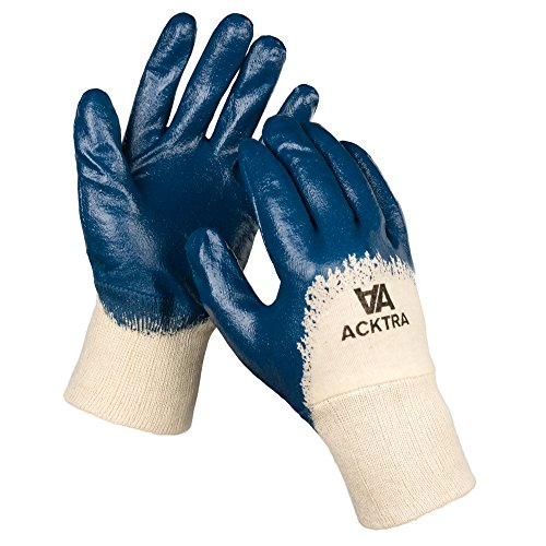 ACKTRA Nitrile Coated Cotton Jersey WORK GLOVES 12 Pairs / 1 Dozen, Knit Wrist Cuff, Multipurpose, for Men & Women, Blue, Small, WG001 (Jersey Form Polyurethane)