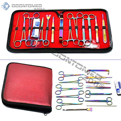 OdontoMed2011 Dissection Kit -Multi Rainbow Color 23 Pcs Advanced Lab Dissection Kit- for Anatomy & Biology Students, Lab, Veterinary, Botany-11 Stainless Steel Instruments & 12 Bonus Scalpel Handle