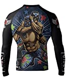 Raven Fightwear Men's Luchador El Cuervo MMA BJJ Rash Guard Black X-Large