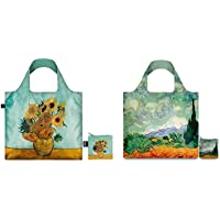 Loqi Museum Collection Vincent Van Gogh Set of 2 Reusable Shopping/Grocery Bags. Compact, Foldable into Zippered Pouch, Supports up to 44 lbs. Inner Pocket for Keys & Phone, Eco-Friendly