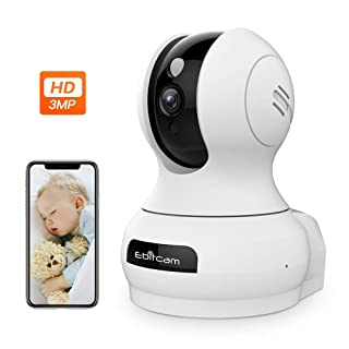 3MP Smart WiFi Camera- Ebitcam 1536P Ultra HD Security Wireless Monitor,Work with Alexa,Smart Tracking,Night Vision,2-Way Audio,Cloud Storage,APP Remote Real-time Monitoring for Baby/Pet/Home Safety