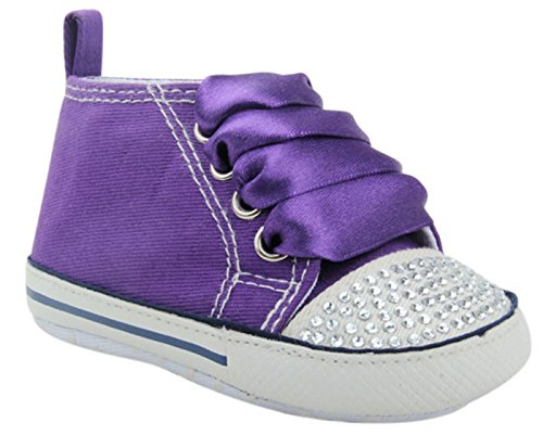 Unique Baby Baby-Girl Canvas Sneaker with Rhinestones (6-12 Month) Purple (Purple Baby Shoes)