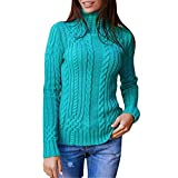 Thatso Womens Pullover Sweater Lady Winter High Collar Long SleeveKnitted Jumper Sweatshirt Tops (XL, Green)