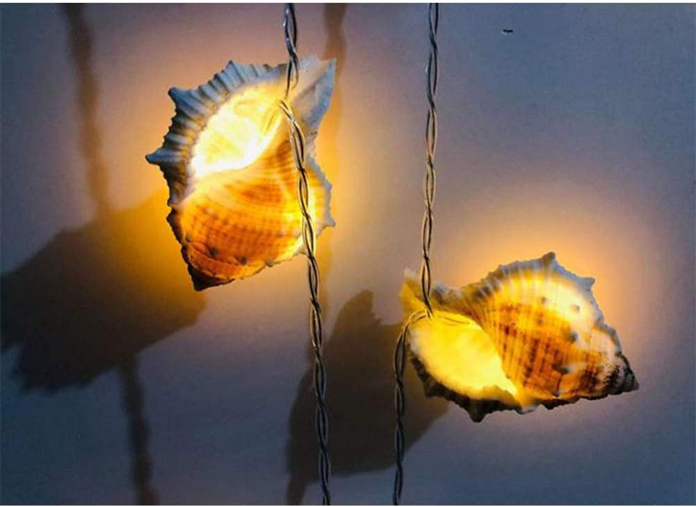 Battery Fashion and Comfort redcolourful String Lights Warm White Lighting Lovely Beach String Light Battery Operated for Holiday Wedding Home Window Decoration Fat Conch 1.5 Meters 10 Lights