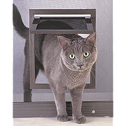 Pansupply Pet safe screen door window bronze dog cat kitty gate flap fold lock