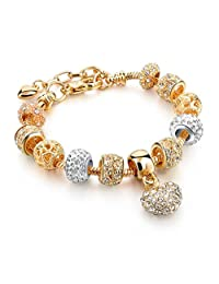 Capital Charms Crystal Heart of Gold Charm Bracelet for Girls and Women, Snake Chain with Extension, Crystal Charms and Gift Box