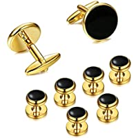 EVEVIC 8PCS Cufflinks and Studs Set for Tuxedo Shirt Cuff Links Formal Business Wedding
