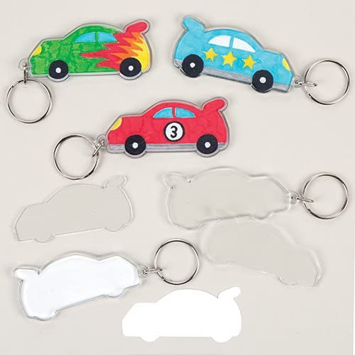 Baker Ross Make Your Own Car Keyring for Kids Arts and Crafts Activities Pack of 6