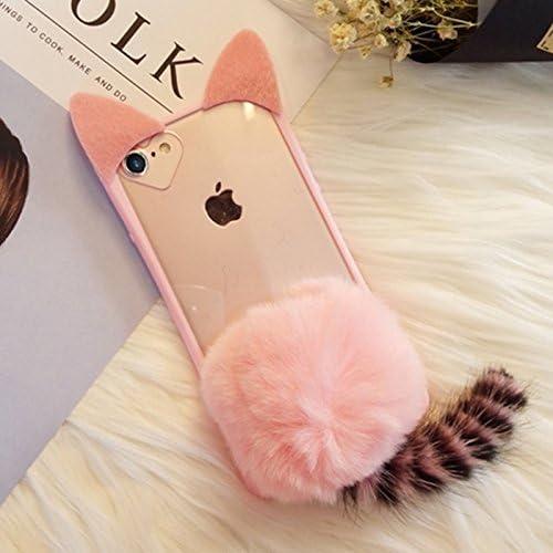 Zhanying Para iPhone 8 y 7 Estuche con Peluche Bola Linda Felpa Cola Cat Protector contraportada (Color : Rosa): Amazon.es: Hogar