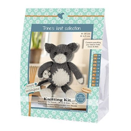 Go Handmade Simon The Cat 20cm & Mats The Mouse 8cm Knitting Needlework Kit, All Parts & Materials Included!
