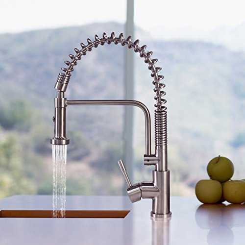 Commercial Kitchen Faucet: Geyser GF51-S Stainless Steel Commercial- Coiled Spring