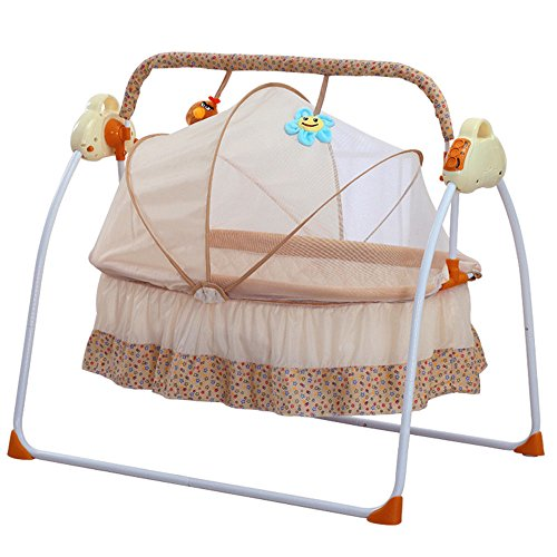 Bassinet Steel Infant (Electric Baby bassinet Swing, TBvechi Music Remoter Control Sleeping Basket Bed Electric Big Auto-Swing Bed Baby Cradle Space Safe Crib Infant Rocker Cot + Mat (Khaki))