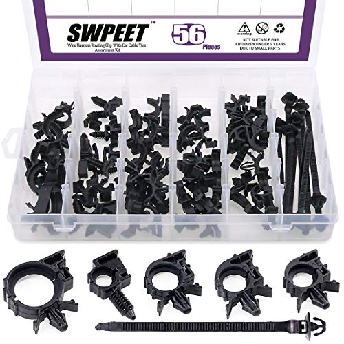 Swpeet 56Pcs Wire Harness Routing Clip Assortment with Car Cable Ties Kit, 5 Different Sizes Universal Retainer Car Clips Contains Replacement Parts for Honda GM -