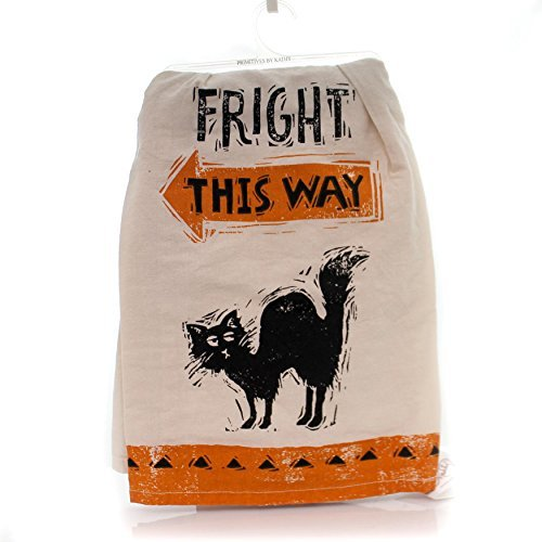 Primitive by Kathy Halloween Black Cat Dish Towels Set of 2 - Fright This Way - Black Cat Eyes -