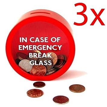 Amazon De 3 X Notfall Geld Cash Box Spardose Glas Break Geschenk